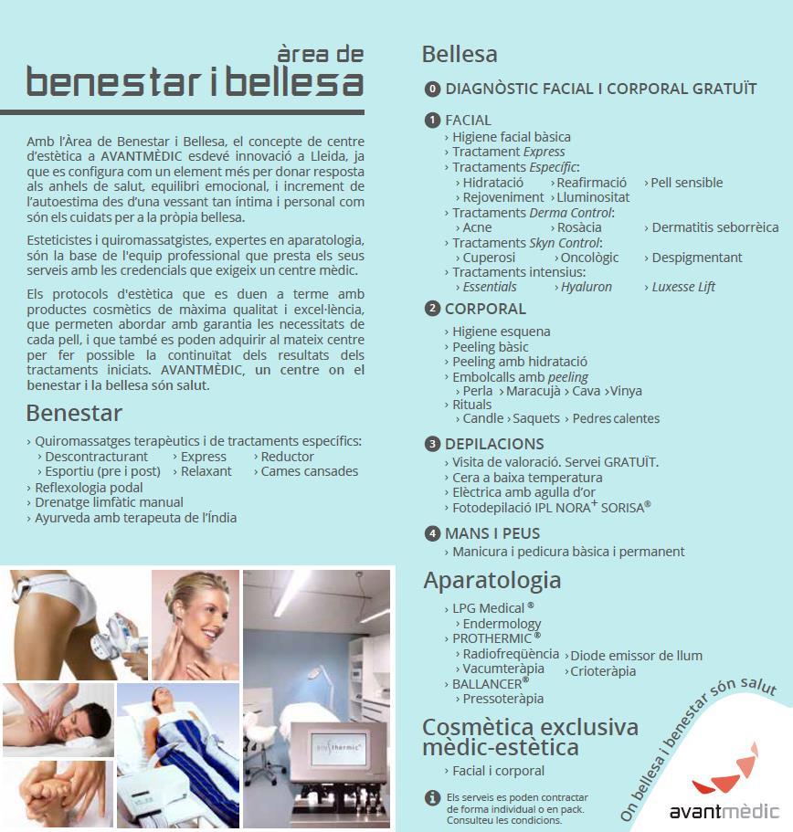 Carta servicios Bienestar y Belleza